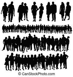 grupo, gente, grande, pareja, vector, silueta