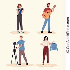 grupo, gente, joven, caracteres, creativo, cuatro