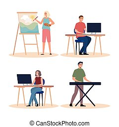 grupo, gente, joven, creativo, cuatro