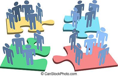 grupo, gente, rompecabezas, solución, pedazos, humano, organización