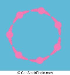 Grupo motivado de personas. Logo, el círculo de una persona. Vista desde arriba. Gráficos vectoriales