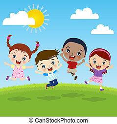 grupo, niños, felicidad