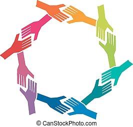 Grupo oh personas manos en círculo. Concepto el trabajo en equipo