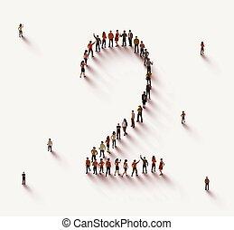 grupo, personas 2, numere dos, forma, grande