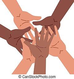 grupo, poniendo, manos, gente, diverso, juntos