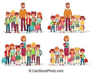grupo, profesor, niños, aislado, escuela