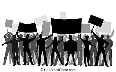 grupo, protestador