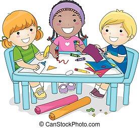 grupo, proyecto, arte, niños