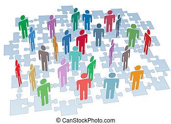grupo, red, artículos del rompecabezas, conexión, recursos humanos