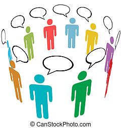 grupo, red, gente, medios, símbolo, colores, social, charla