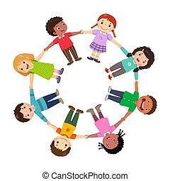 grupo, tenencia, niños, círculo, manos