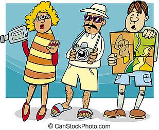 grupo, turista, ilustración, caricatura