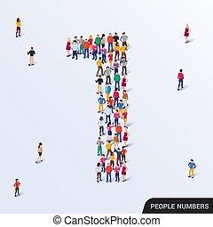 grupo, uno, forma, grande, gente, 1, número