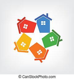 Grupo Vector de casas formando una st