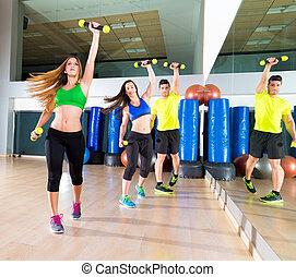 grupo, zumba, gente, baile, gimnasio, condición física, cardio
