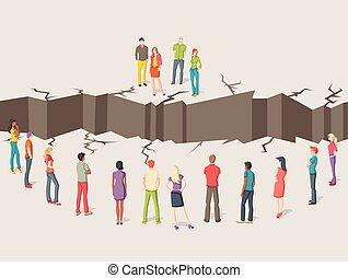 grupos, floor., gente, agrietado, dos, separado