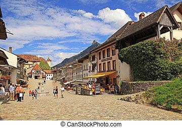 gruyeres, aldea, suiza