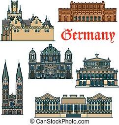 Guía de viajes delgada línea icono de atracciones alemanas