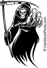 guadaña, muerte, negro, monstruo