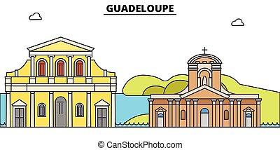 Guadalupe plana de viaje fijo. Guadeloupe vector de la ciudad negra ilustración, símbolo, vistas de viaje, puntos de referencia.