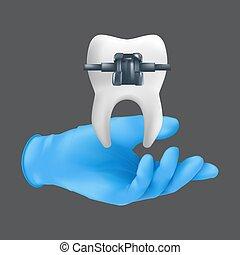 guante, modelo, brace., concepto, diente, tenencia, realista, vector, mano, cerámico, ilustración, llevando, metal, gris, ortodóntico, azul, tratamiento, plano de fondo, 3d, aislado, quirúrgico, dentista