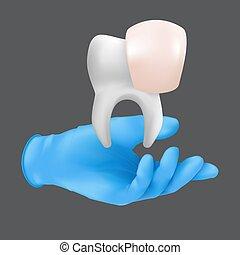 guante, modelo, concepto, porcelana, tenencia, realista, vector, chapas, mano, cerámico, ilustración, protector, tooth., llevando, gris, fondo azul, 3d, aislado, quirúrgico, dentista