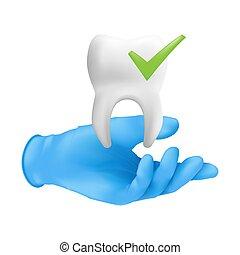 guante, modelo, concepto, tenencia, cheque, realista, vector, mano, cerámico, blanco, ilustración, tooth., protector, llevando, dental, fondo azul, 3d, aislado, quirúrgico, dentista