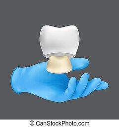 guante, modelo, concepto, tenencia, realista, vector, mano, cerámico, ilustración, dientes, protector, tooth., llevando, gris, azul, corona, plano de fondo, 3d, aislado, quirúrgico, dentista