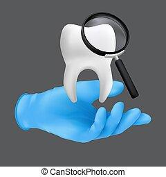 guante, modelo, concepto, tenencia, realista, vector, mano, cerámico, ilustración, protector, tooth., llevando, gris, dental, azul, chequeos regulares, plano de fondo, 3d, aislado, quirúrgico, dentista