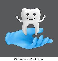 guante, niños, modelo, odontología, concepto, tenencia, realista, vector, mano, cerámico, ilustración, tooth., protector, llevando, gris, fondo azul, 3d, aislado, quirúrgico, dentista