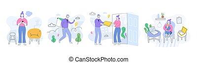 guantes, app, pasos, servicio, pizza, coronavirus, ordenar, proceso, cuarentena, caracteres, mujer, hogar, smartphone, mensajero, entrega, caricatura, feliz, cliente, entregar, en línea, máscara