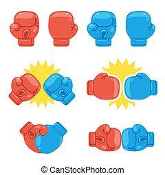 guantes, boxeo, conjunto