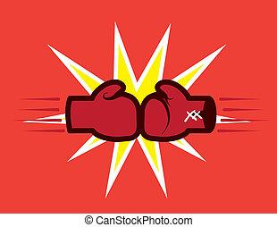 Guantes de boxeo golpeando