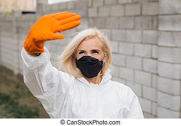 guantes, mujer, máscara, juicio protector, blanco, negro, suspiro, elaboración, parada
