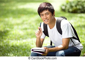 guapo, asiático, estudiante, joven