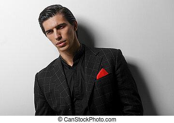 guapo, retrato, bufanda, bolsillo, fondo., hombre, encima, seda, primer plano, traje, rojo blanco, negro