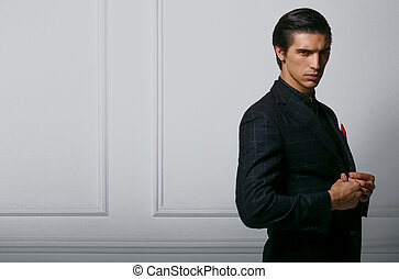guapo, retrato, bufanda, bolsillo, fondo., hombre, encima, seda, traje, perfil, rojo blanco, posturas, negro