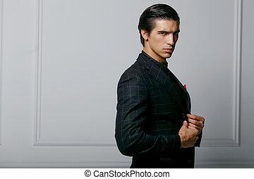 guapo, retrato, bufanda, bolsillo, fondo., hombre, encima, seda, traje, rojo blanco, perfil, negro