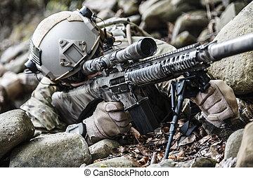 guardabosques, ejército, francotirador