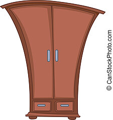 guardarropa, hogar, caricatura, muebles