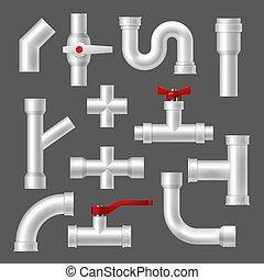 guarniciones, tubos, tubería, tubos, plástico