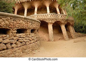 guell, antoni, parque, barcelona, gaudi., diseñado, columnas, españa