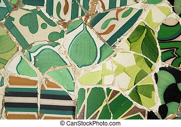 guell, parque, detalle, banco, barcelona, guadi, españa, cerámica