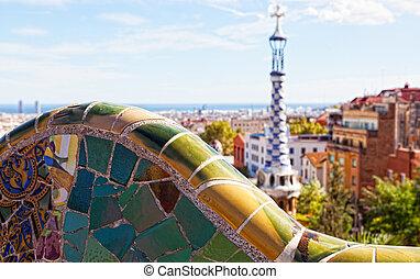 guell, vistas, diseñado, barcelona, spain., antoni, parc, gaudi