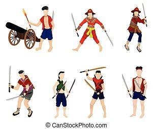 guerrero, caricatura, diseño, vector, forma, antiguo