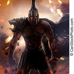 guerrero, enojado