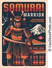 guerrero, japón, antiguo, espada, samurai