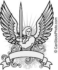 guerrero, vector, ángel, ilustración