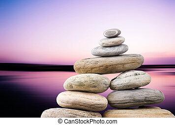 guijas, tarde, zen, concept., liso, océano, fondo., pacífico, pila
