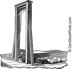 guillotina, blanco, aislado, vendimia, grabado